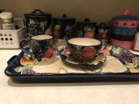 Hand painted ceramic dishes +.