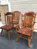 4 Solidwood Chairs- 2 Captain Chairs+ 2 Side Chairs