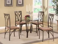 Metal and glass table with four chairs