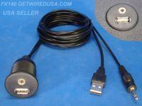 Purchase FLUSH MOUNT USB 3.5MM HEADPHONE JACK RADIO AUX INPUT BOAT MARINE ATV GOLF CART motorcycle in Tucson, Arizona, United States, for US $16.95