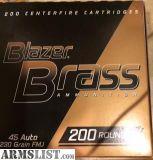 For Sale: 200 Rounds 45 Auto Blazer Brass