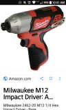 Milwaukee M12 impact driver and battery