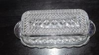 CLEAR PRESSED GLASS BUTTER DISH BY ANCHOR HOCKING