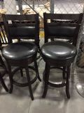 Bar Stools- Black Leatherette Swivel