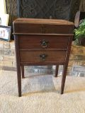 Antique Wood Cabinet With 2 Drawers