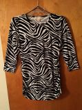 Ladies Michael Kors medium zebra print tunic top with side zippers & elastic at sides