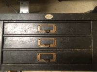 antique vtg art metal 3 drawer storage cabinet industrial steampunk organizer