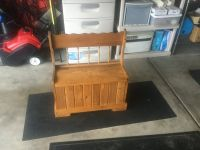 Kids wooden bench and toy box. Excellent condition Solid wood. 27.5 wde. 31 high ack of bench ...