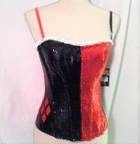 Halloween NWT Queen of Heart Bustier Red Black Spades Clubs Halloween Lg L Costume Sequins
