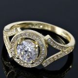 Solid 10k yellow gold 1.25 ctw aaa grade Russian CZ ring sz 7