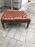 Maitland Smith distressed large leather tufted ottoman