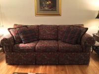Sofa / Couch Burgundy Paterned Tapestry w 4 pillows