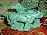 Exceptional and Beautiful Vintage Large Chinese Turquoise Carving of a Horse and Tiger