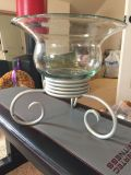 Mexican Glass Bowl on Pedestal-EUC-No cracks & very heavy! Cleaning Out-Must Go!