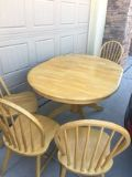 solid oak wood Dining table plus 4 chairs
