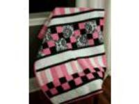 Handmade Modern Quilt - Hot pink, black, white -