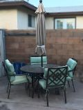 Glass Table with Umbrella and 4 Chairs