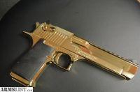 For Sale: Magnum Research Desert Eagle,50AE,rare high gloss Titanium gold,top rail