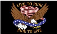 """Purchase SMALL BIKER FLAG LIVE TO RIDE, RIDE TO LIVE MOTORCYCLE FLAG BIKER 6"""" X 9"""" motorcycle in Hudson, Florida, United States, for US $10.95"""