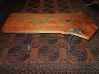 Coffee table- Juniper inlaid with Azurite