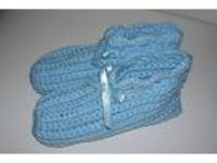 Ladies Size Handmade Crochet Slippers House Shoes--Lt. Blue