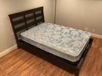 Full size bed frame,mattress,and box spring.