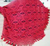 Queen Red and Black Heavy Bedspread