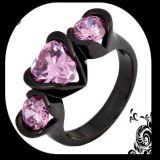 NEW - Heart 3 Stone Pink Sapphire and Black - Size 6