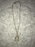 Long Gold Chain Owl Necklace