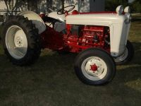 Ford Jubilee Tractor with Shredder Red and Cream Ford Jubilee Tractor