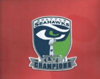 "SEATTLE SEAHAWKS XLVIII CHAMPIONS IRON ON PATCH (4""X5"") *** NEW***"