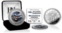 *** Richard Sherman NFL Logo Silver Plated & Color Coin with C.O.A. *** NEW ***