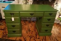 Hand Painted and distressed green wooden desk