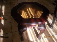 Mahogany and glass coffee table and two identical end tables