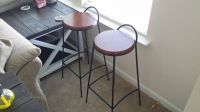 Wrought Iron and Wood Bar Stools
