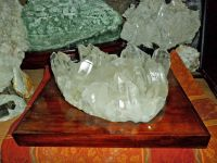 Beautiful and Gorgeous Massive Quartz Crystal Cluster on Wooden Base comes from Arkansas