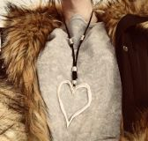 Funky boho vintage style silver plated heart necklace