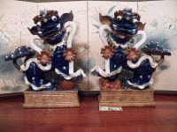 Pair Of Large Beautiful Chinese Blue Ceramic / Pottery Foo Dogs