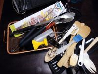 Moving sale, cooking utensils