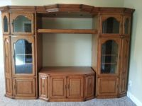Hawthorn 5 pc. Solid Oak Entertainment Center with matching end tables in GREAT condition