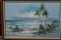 OLD BEACH HOLIDAY VIEW OIL PAINTING BY A MEXICAN ARTIST
