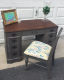 2 pcs: slate gray antique desk/vanity with chair
