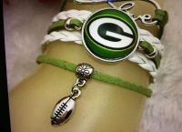 GREENBAY PACKERS FOOTBALLS BALL NFL GLASS CABOCHON INFINITY LEATHER BRACELET TIBET SILVER NEW