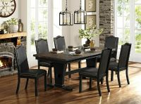 $999, NULAND SOLID WOOD TOP TRESTLE 7PC kitchen dining table set--NEW
