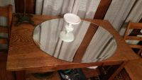 Large buffet table or dresser top oval mirror
