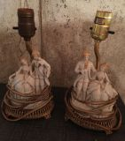 Vintage lamps hand painted