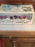 12 Vintage Brockway Flower Of The Month Complete Set Mint Condition Glasses