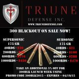 $20, 300 Blackout Subsonic  Supersonic 175 Gr SMK  45 ACP New