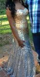 Beautiful GoldSilver Ombre Prom Dress