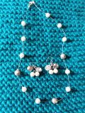Cute pearl wire necklace matching earrngs